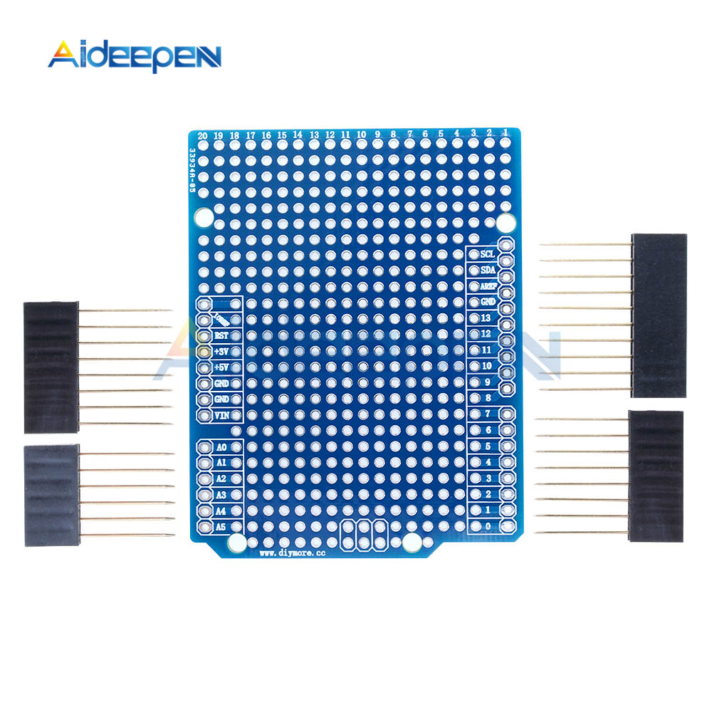 Prototype PCB Breadboard Board 2/2.54mm Pitch With Pins DIY For Arduino ATMEGA328P UNO R3 Shield FR-4 Fiber PCB Expansion Board