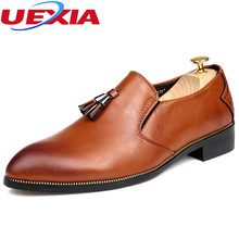 Fashion Business Men Dress Shoes Brogues Super fiber Leather Pointed Toe Flats Wedding Formal Office Luxury Tassels Oxford Shoes
