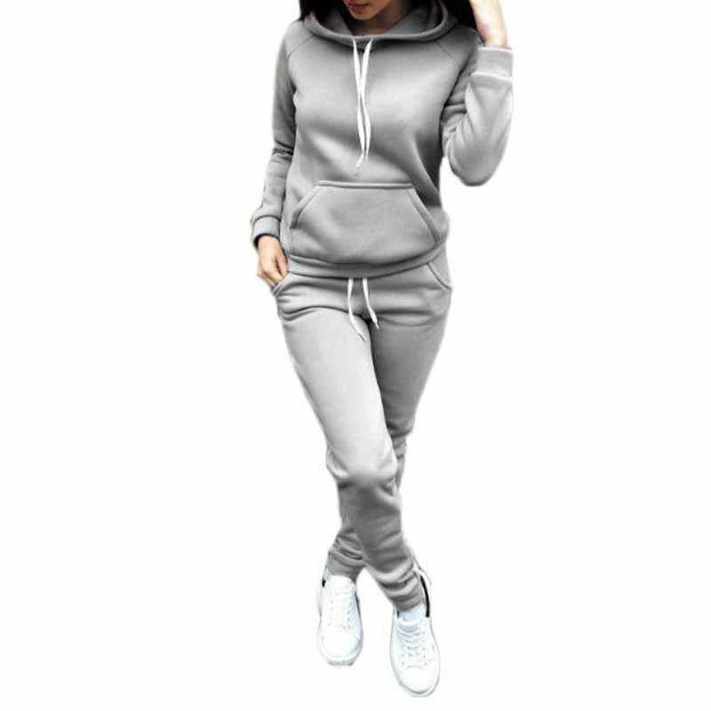 2 Pcs Set Autumn Winter Female Hoodies Long Sleeve Sweatshirts Women Pullover Casual Tops Suit