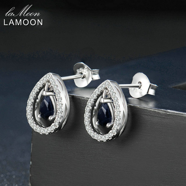 Lamoon 3X5mm Teardrop 100% Dark Blue Color Real Blue Sapphire 925 sterling-silver-jewelry  Crown Stud Earring S925 LMEI054