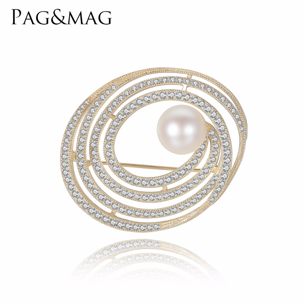 PAG&MAG New High Quality Silver 925 Pearl Brooch Jewelry for Women Small Rhinestone Crystal Elliptical Shape Pins Brooches elegant faux gem rhinestone flower leaf brooch for women