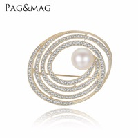 PAG&MAG New High Quality Silver 925 Pearl Brooch Jewelry for Women Small Rhinestone Crystal Elliptical Shape Pins Brooches
