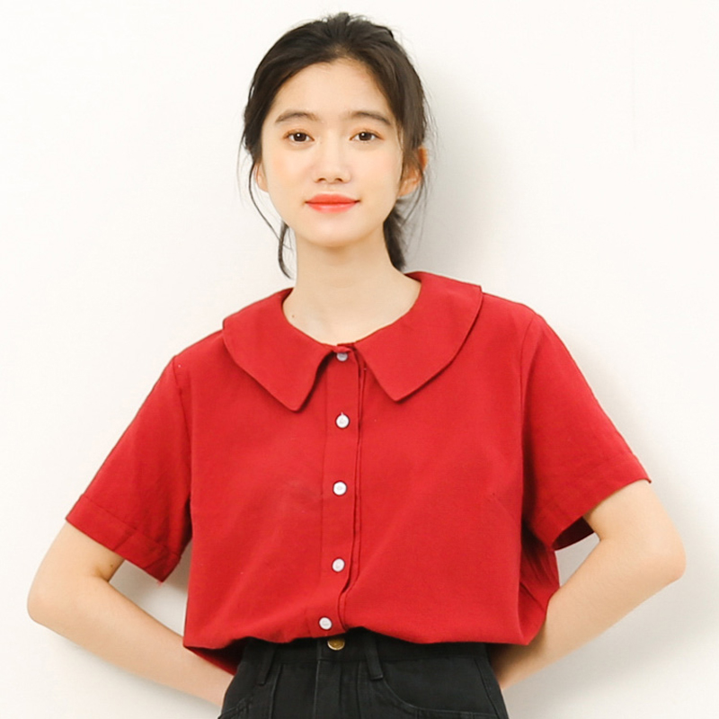 2018 New Korean Cute Doll Collar Short Sleeve Shirts Blouses Women Institute Wind Single-breasted Loose Casual Shirt Red/Apricot