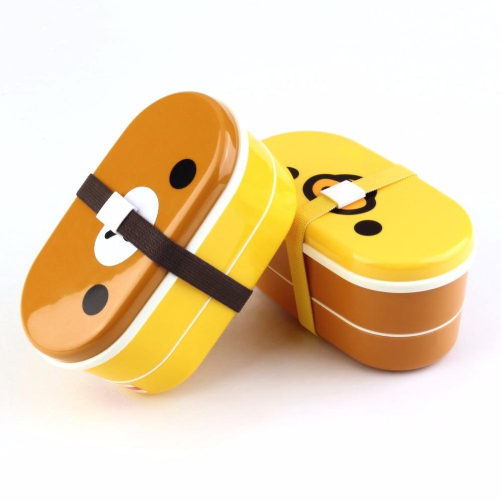 Бытовой прекрасный Пластик Бенту Lunch Столовая посуда коробка коричневый Цвет микроволновая печь Rilakkuma Bento Многослойные Детские Обед Bento Box