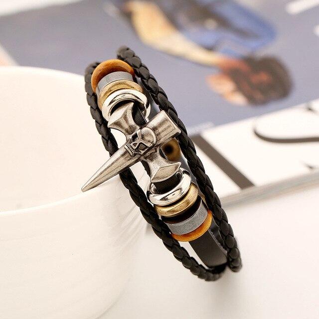 Bracelet tête de mort pic squelette croix Viking  3