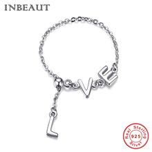 INBEAUT Hot Sale 100% 925 Sterling Silver LOVE Letters Shaped Bracelet for Women Cute Romantic Gift Chain Genuine S925 Jewelry 100% s925 sterling silver key chain personality fashion retro punk style heart shaped sword design gift 2018 new hot sale