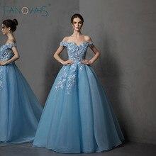 Blue Evening Dress 2019 Off the Shoulder A-Line Crystal Beaded 3d Flower Lace Formal Evening Gown Long Vestido de noche NE66