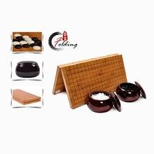 bambus holz schachspiel, spiel von gehen, hochwertige bambus falten schachbrett bambus glas gehen schach, L1