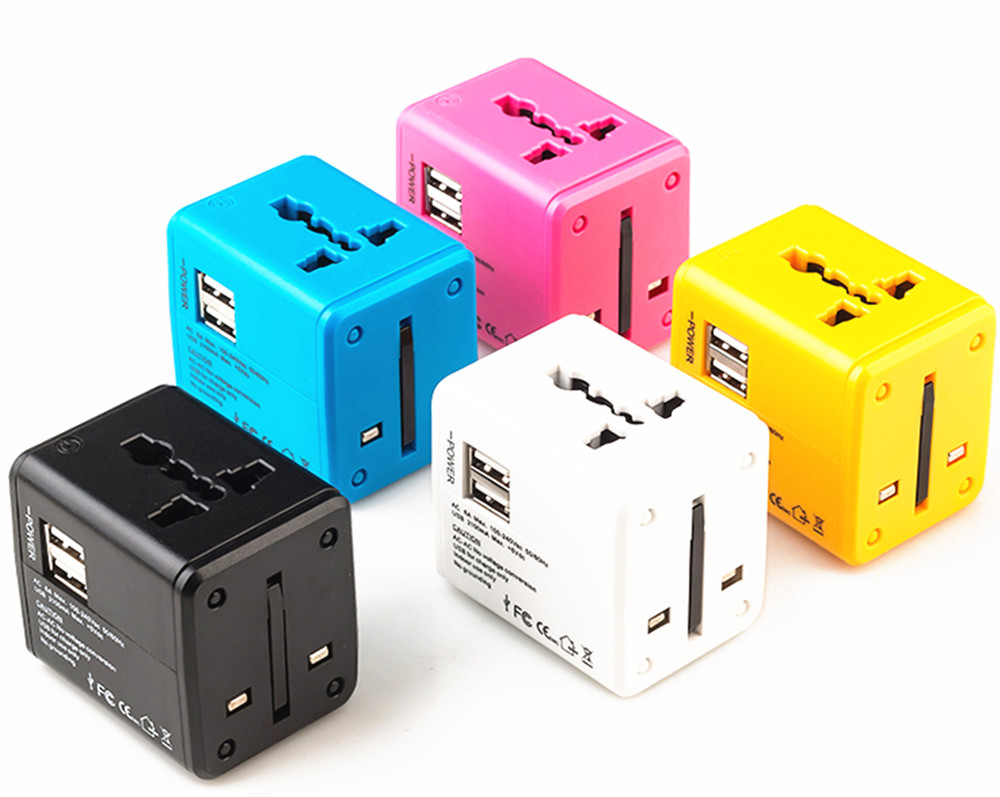 Travel Adapter Multiple color Electric Plug Power Universal Socket Adapter USB Power Charger Converter EU UK US AU 2.1A стоимость
