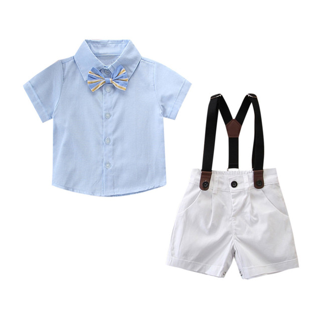 23f6d55d7a88 Baby Boy Clothes Fashion Gentleman Strap Short Sleeve Set Cute Blue Bow Tie Shirt  Shorts Pants Kids Clothing Boy Clothes 2019