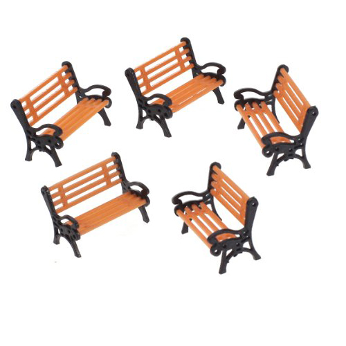 LHBL 5pcs Plastic Model Park Bench Model Landscape 1:50 w/ Black ArmLHBL 5pcs Plastic Model Park Bench Model Landscape 1:50 w/ Black Arm
