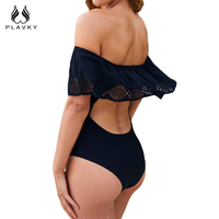 PLAVKY 2017 Retro Sexy Black Hollow Out Off Shoulder Trikini Swim Wear Bathing Suit Monokini Swimwear