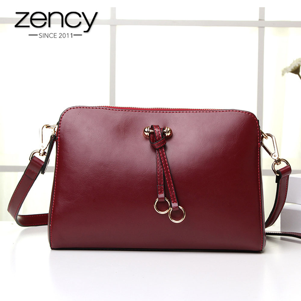Zency New Arrivals Women Messenger Bag 100 Genuine Leather Handbag Black Flap Simple Crossbody Shoulder Purse