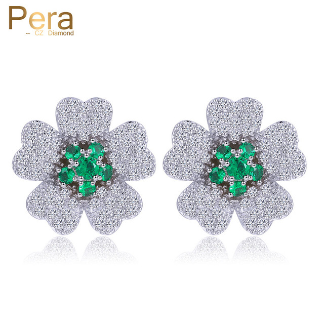Pera Trendy Korean Style Las Costume Jewelry Cute Flower Cubic Zirconia Stud Earrings With Green
