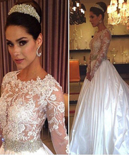 Beaded Lace See-Through Wedding Dress 2016 With Long Sleeve Romantic Taffeta Bridal Gown robe de mariage