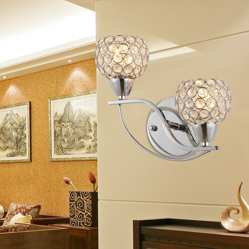 ФОТО Crystal wall lamp modern Sconce Fashion K9 crystal wall light double slider luminair lighting fixture