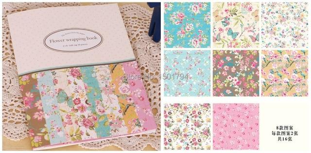 Scrapbooking Paper Set16sheet Set8 Design Colorful Flowers Symmetry Pattern Gift