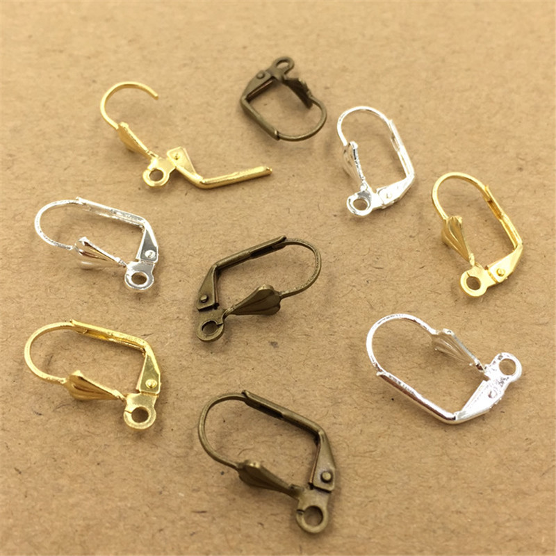 10mm 17mm Copper Ear Hook Clasp Earring Wires Silver Antique Bronze Original Brass DIY Jewelry Accessories