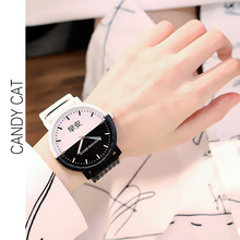Simple casual classic black and white good morning night watch male female students couple quartz