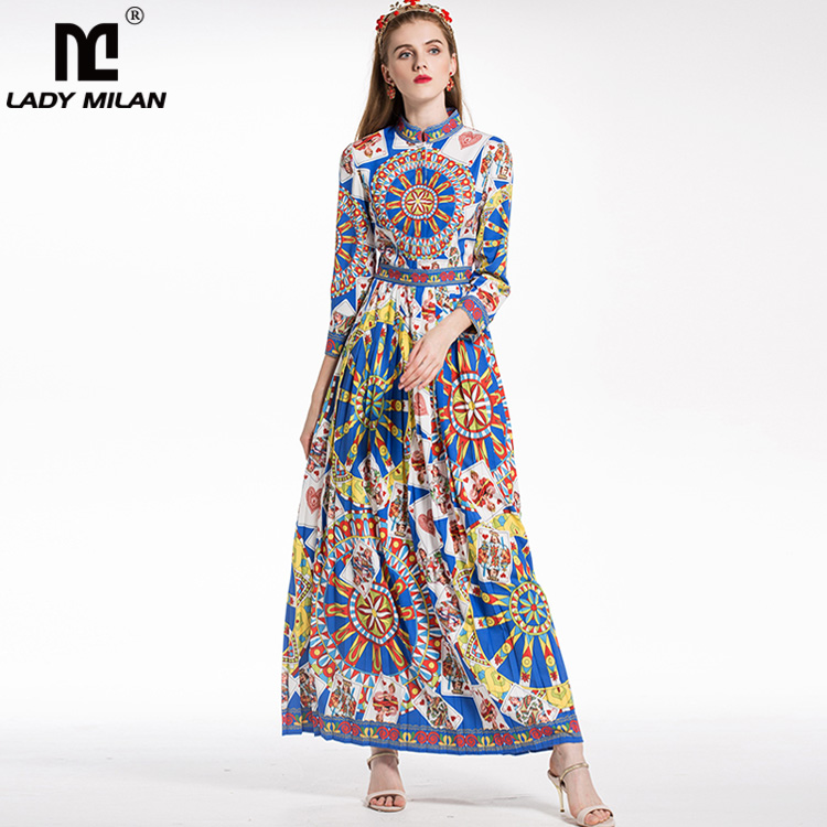 New Arrival 2018 Womens Stand Collar Long Sleeves Characters Printed Floral Pleated Designer Dresses Fashion Maxi Casual Dress