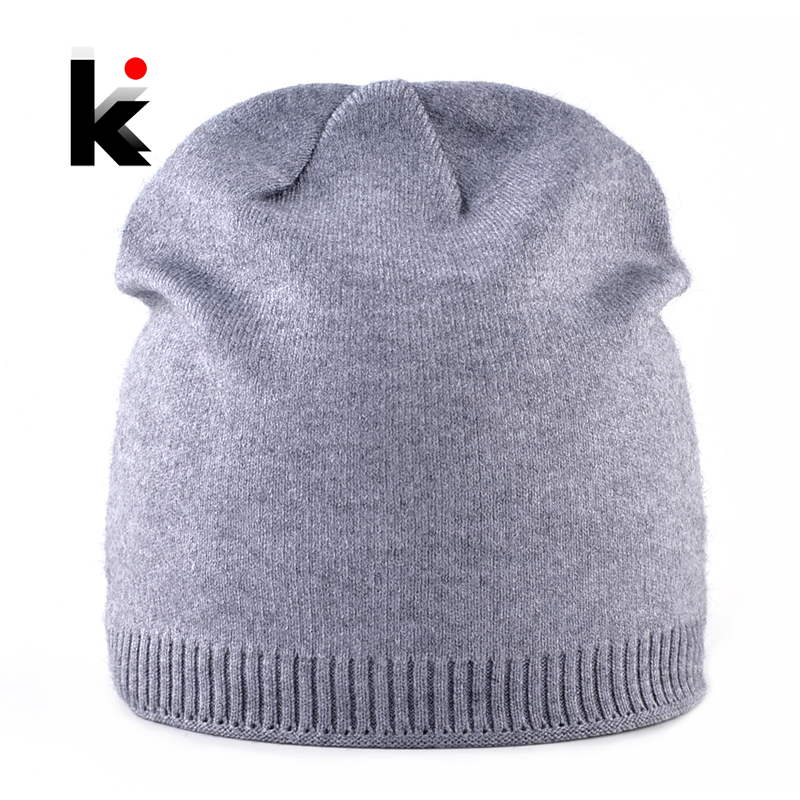 2018 Female Autumn Winter Knitted Hats For Women Solid Color Double Lining Knit Beanie Ladies Skullies Beanies Soft Caps Bonnet