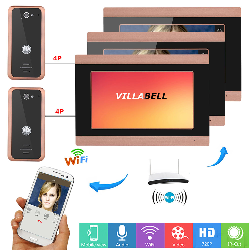 7inch Wireless 3 Monitors Wired Wifi Video Door Phone Doorbell Intercom Entry System With 2X 1000TVL Wired Camera Night Vision