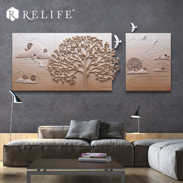 3 Panel Combined Decoration Wall Paintings for Living Room Natural Landscape Resin Tree Art Pictures