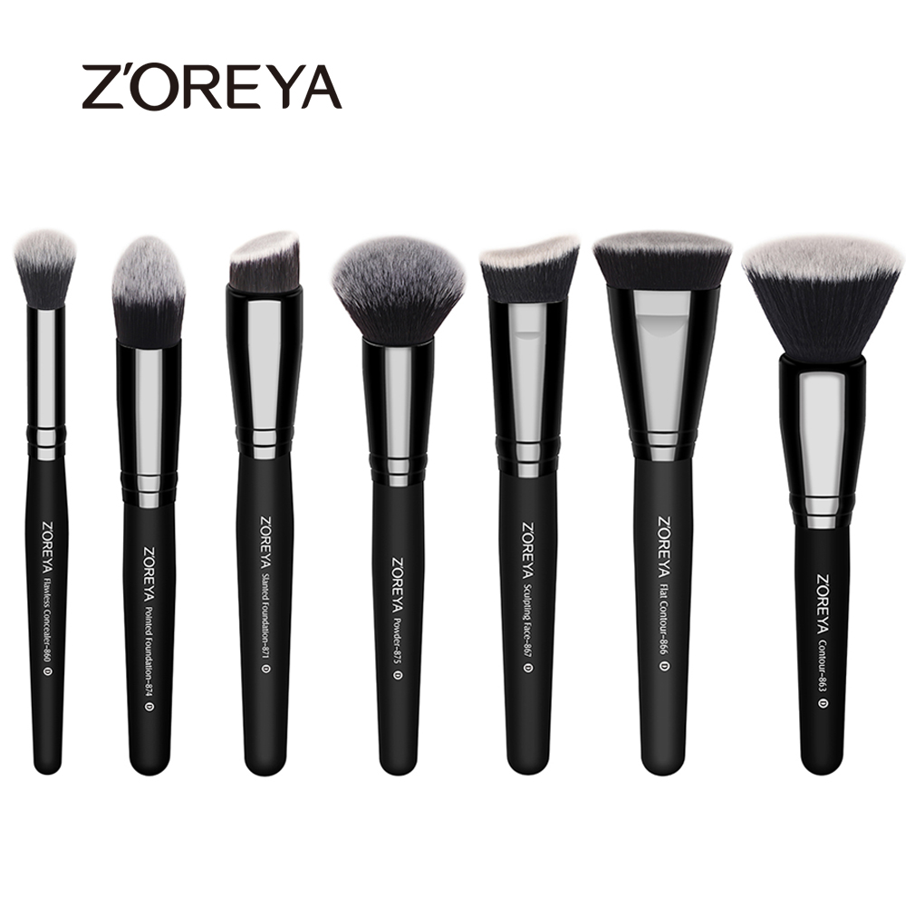 ZOREYA High Quality 7pcs Professional Makeup Brush Set Nylon Hair Foundation Blush Powder Make Up Brush Maquiagem Cosmetic Tools top quality foundation brush angled makeup brush