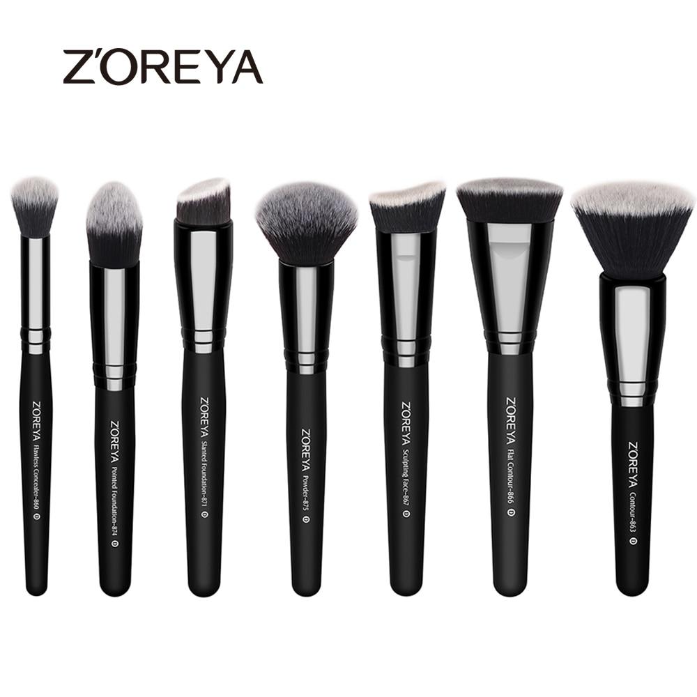 ZOREYA High Quality 7pcs Professional font b Makeup b font Brush Set Nylon Hair Foundation Blush