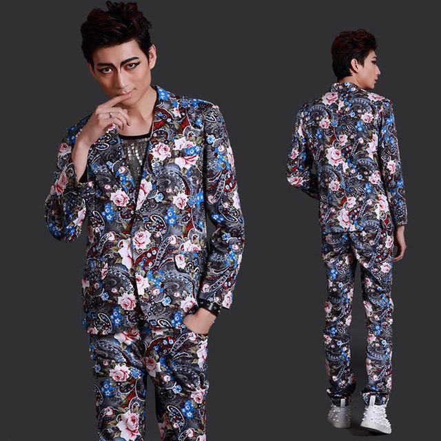 ( Terno + calças ) personalidade de moda masculina ternos finos festa Show paletó boate cantor dançarino Dj costumes set