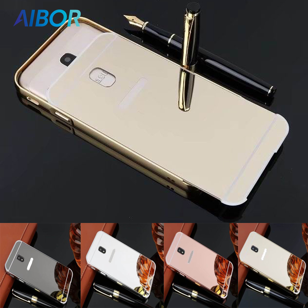 AIBOR Luxury Plating Aluminum Metal Frame Mirror case For Samsung Galaxy J7 Pro 2017 J730F Back Phone Case EU Eurasian Version