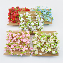 5 M/Lot Fishing Line Pearls DIY Rose Silk Artificial Flower Vine for Wedding Party Home Kids Room Wreath Decoration Supplies