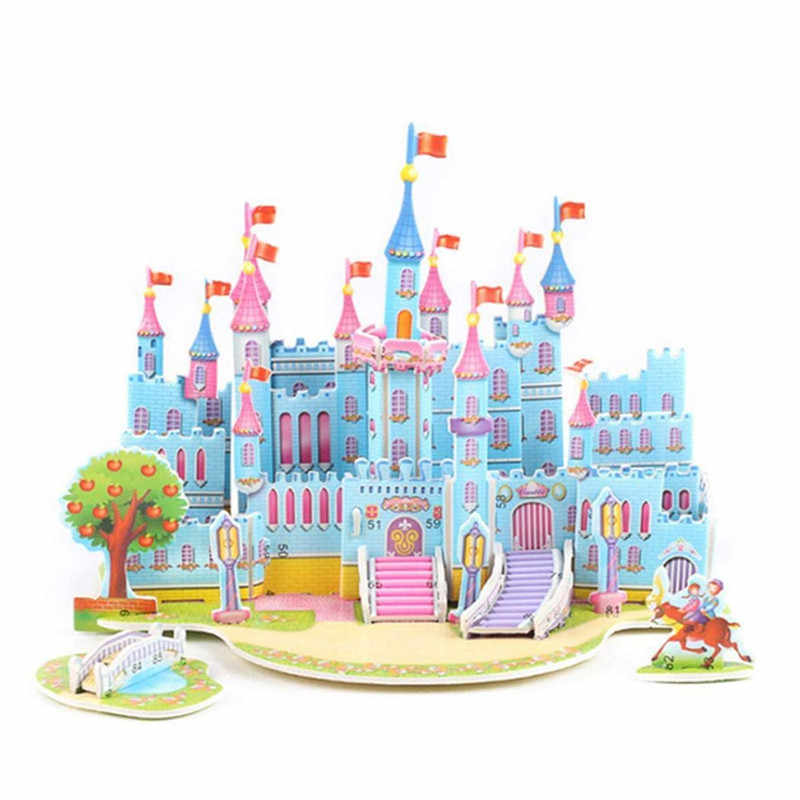 HIINST Puzzle DIY Cartoon Castle Christmas Gift Cottage Handmade Puzzle Snow Model Decoration Early Learning toy BB#