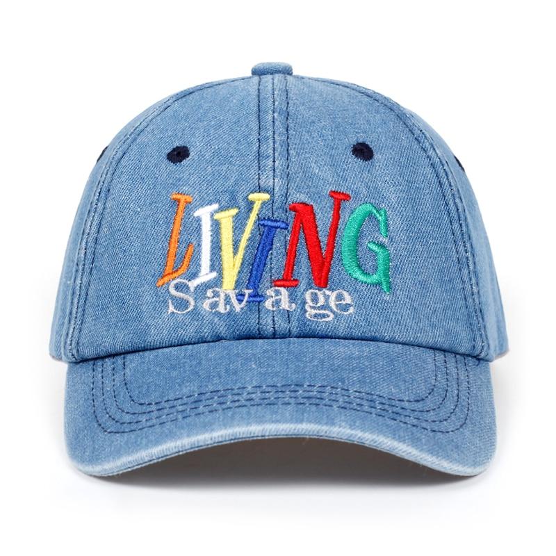 2018 New Brand Letter LIVING Savage Snapback Cap Cotton Baseball Cap For Men Women Adjustable Hip Hop Dad Hat Bone Garros