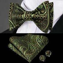 купить LH-2038 Hi-Tie Luxury Paisley SIlk Woven Men Butterfly Self Bow Tie Green BowTie Pocket Square Hanky Cufflinks Suit Wedding Set по цене 311.02 рублей