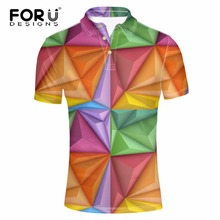 FORUDESIGNS Polos Men Clothes Brightly Lattice Print Man Polo Shirt Summer Short Sleeve Breathable Business Polos Male Camise