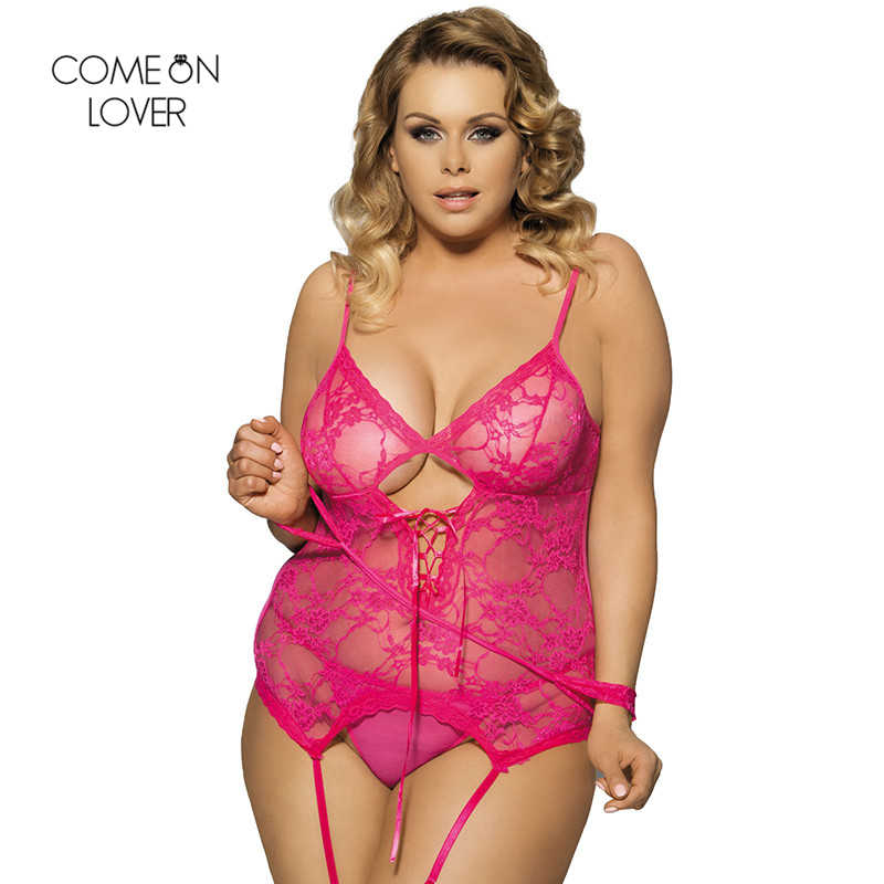 b92dbffddcf ... Comeonlover Solid Color Erotic Teddy Vest + Garter + G-String +  Handcuffs Lace Sleepwear ...