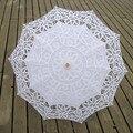 New Fashion Sun Umbrella Parasol Do Laço Branco Marfim vestido de Noiva Bordado Guarda-chuva Guarda-chuva De Casamento Ombrelle Parapluie Dentelle Mariage