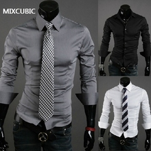 Korean Style Pure Color Long-Sleeved Mens Shirts