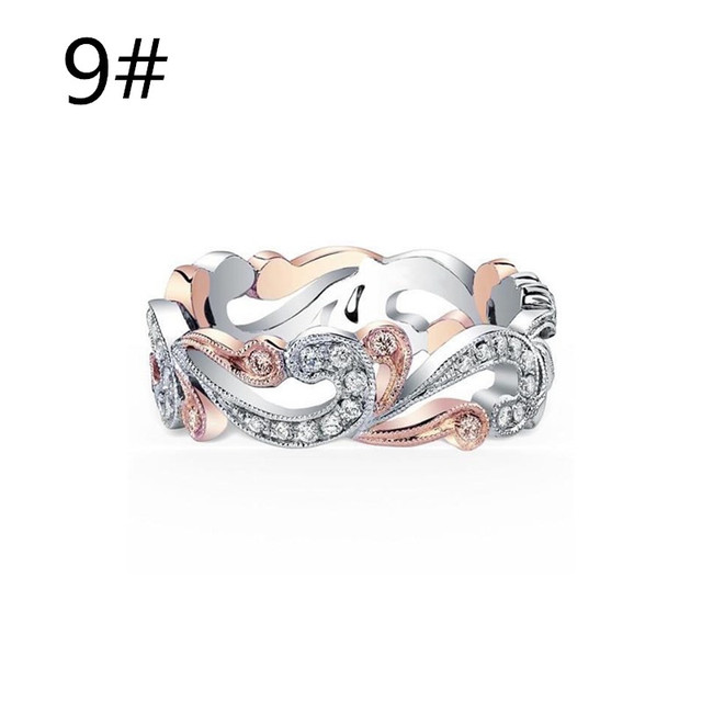 2018 New Elegant Wedding Rings Band For Women Hollow Out Crystal Peach Bague Anel Assorted Silver/Rose Gold Color Jewelry Ring