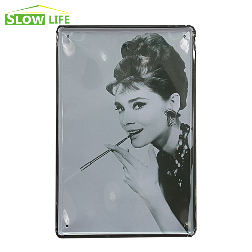<font><b>Elegant</b></font> Audrey Hepburn Smoking Vintage <font><b>Home</b></font> <font><b>Decor</b></font> Tin Sign 8
