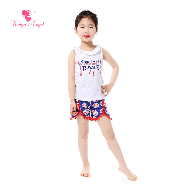 48e29d5e2f08 2018 Boutique Kids Clothing Summer White Baseball Girl Top Shorts Set  Patriotic 4th Of July Girl Outfits Girls Clothes Suits