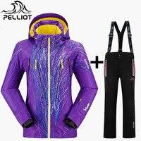 Pelliot Brand Ski Suit Female Thicken Warm Waterproof Mountain Skiing Suit Women Ski Jacket Snowboard Pant