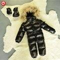 6 M-4 T Do Bebê Meninas Casaco de Inverno Pato Branco Para Baixo + Para Baixo Luvas roupas Meninos Miúdo Roupas Esqui Na Neve Jaqueta Grossa Com Capuz Quente Snowsuit