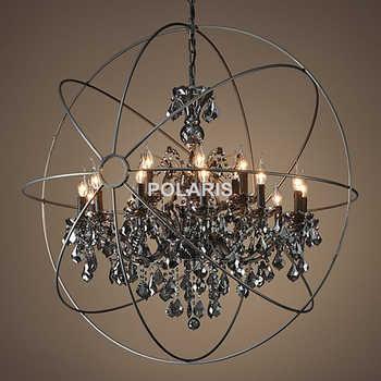 Vintage Smoke Crystal Chandelier Lighting Orb Black Candle Chandeliers Pendant Hanging Light