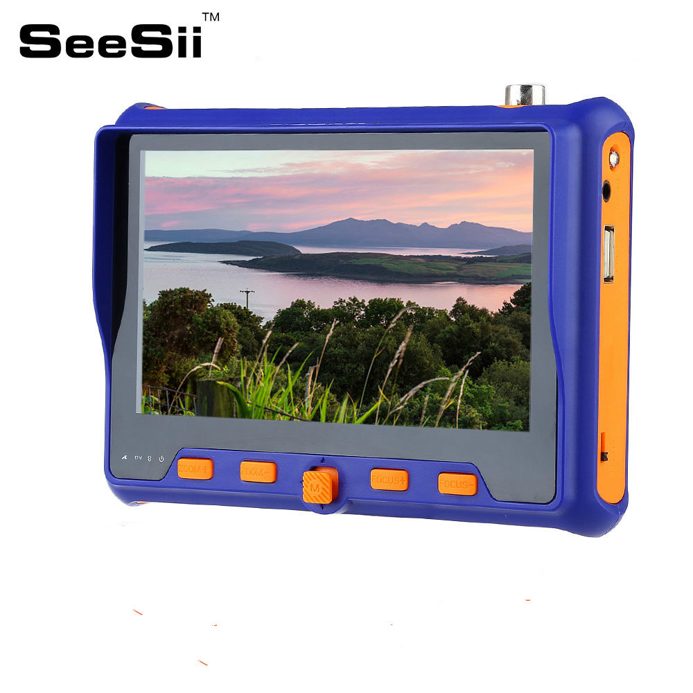 SEESII 5 HD Tester Monitor TVI CVI AHD VGA CVBS 4in1 CCTV Security Camera Analog Video PTZ RS485 Control 2MP 12V 2mp 1080p surveillance ptz ir speed dome camera 10x optical zoom cvi ahd tvi cvbs osd menu transfer hd coaxial control rs485