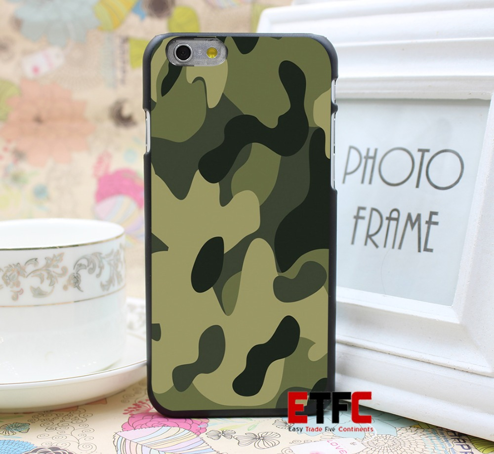 Camouflage Design Hard Back Skin Black Case Cover for iPhone 6 6s PLus