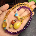 total weight 21.2grams certificated natural amethyst ball natural amber and beeswax bracelet for women's bracelets