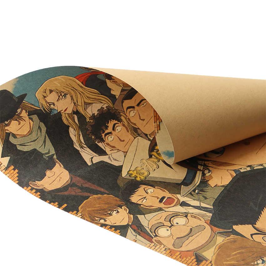 עניבת טיט קלאסי קריקטורה סרט בלש קונאן מקרה פוסטר רטרו קראפט נייר בר קפה דקורטיבי קיר מדבקת 51x36cm