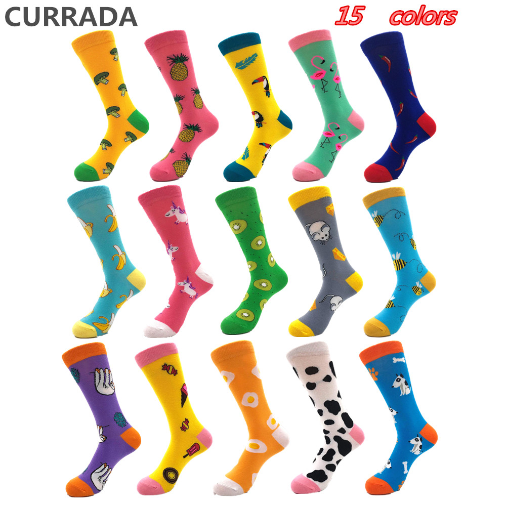 15 colors Casual Mens Happy   Socks   High Quality Combed Cotton Men   Socks   Plant animal Cartoon Designs Funny Crew compression   socks